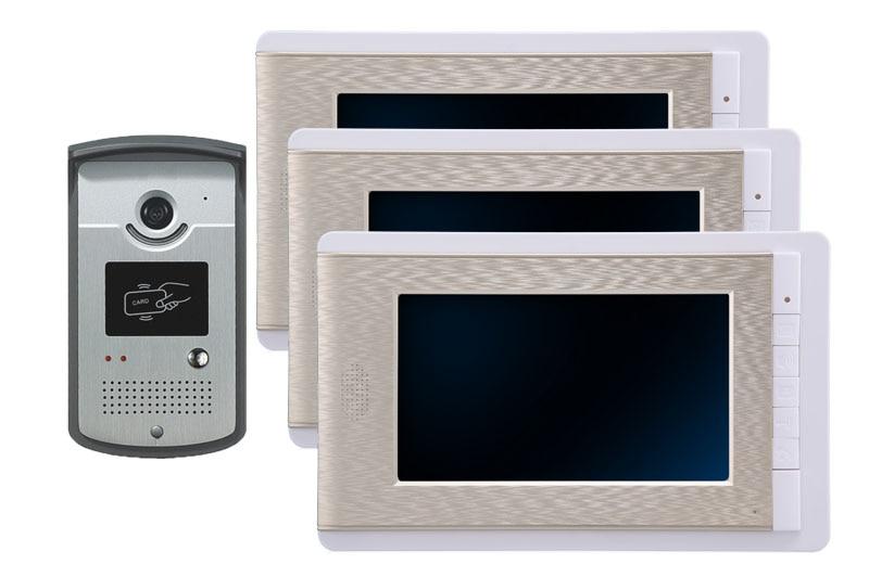 7 Inch Video Door Phone Intercome Doorbell Home Entry Intercom System Kit 3 Monitors 1 Camera Night Vision With RFID ID Keyfobs