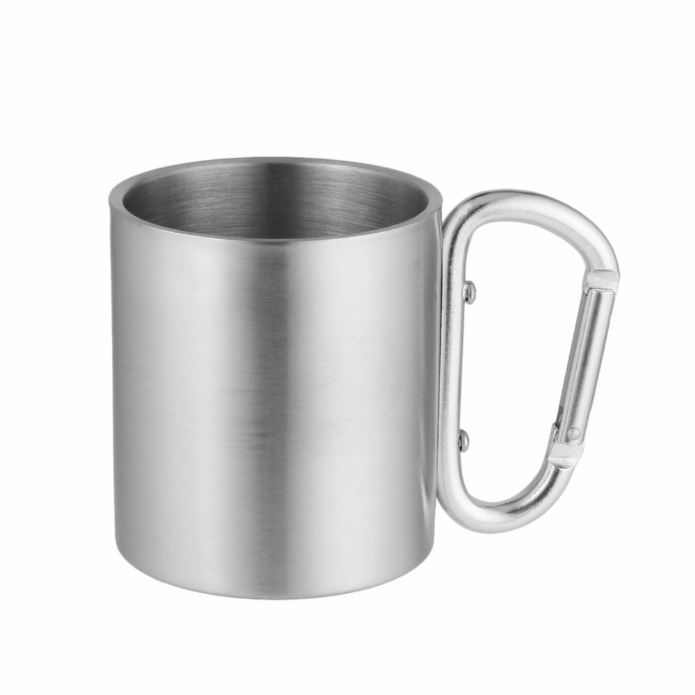 Outdoor Stainless Steel Water Tea Tools Coffee Mug Self Lock Carabiner Handle Cup For Camping Hiking Climbing Portable