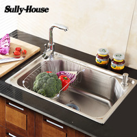 Sully House Brushed 304 Stainless Steel Kitchen Sinks Rectangular Single Bowl Fregadero Blunt Water Tank 55x40cm