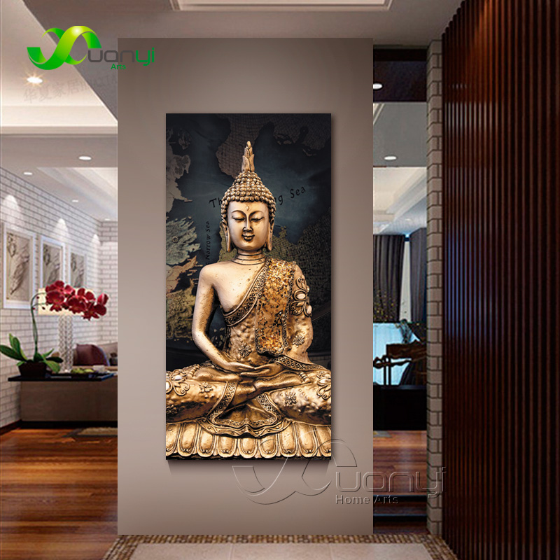 buddha in living room 1 panel abstract buddha canvas painting wall picture 14396