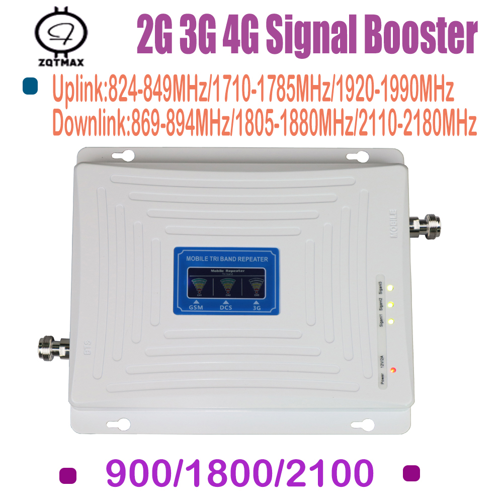 2G 3G LTE Repeater LCD 3G 2100MHz Signal Booster 65dB Gain 900mhz 2G LTE Amplifier Mobile Phone Signal Repeater For Home Signal