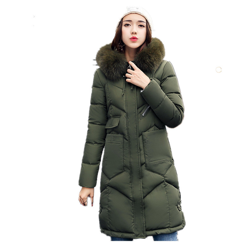 Thick  2017 Winter Jacket Coat  Women  Fur Collar Down Parka Plus Size Cotton-padded  Long Warm Hooded Coat Snow Wear  Jacket 2017 women winter coat fur collar hooded long sleeve jackets slim thick winter jacket woman s down cotton parka plus size qh0242