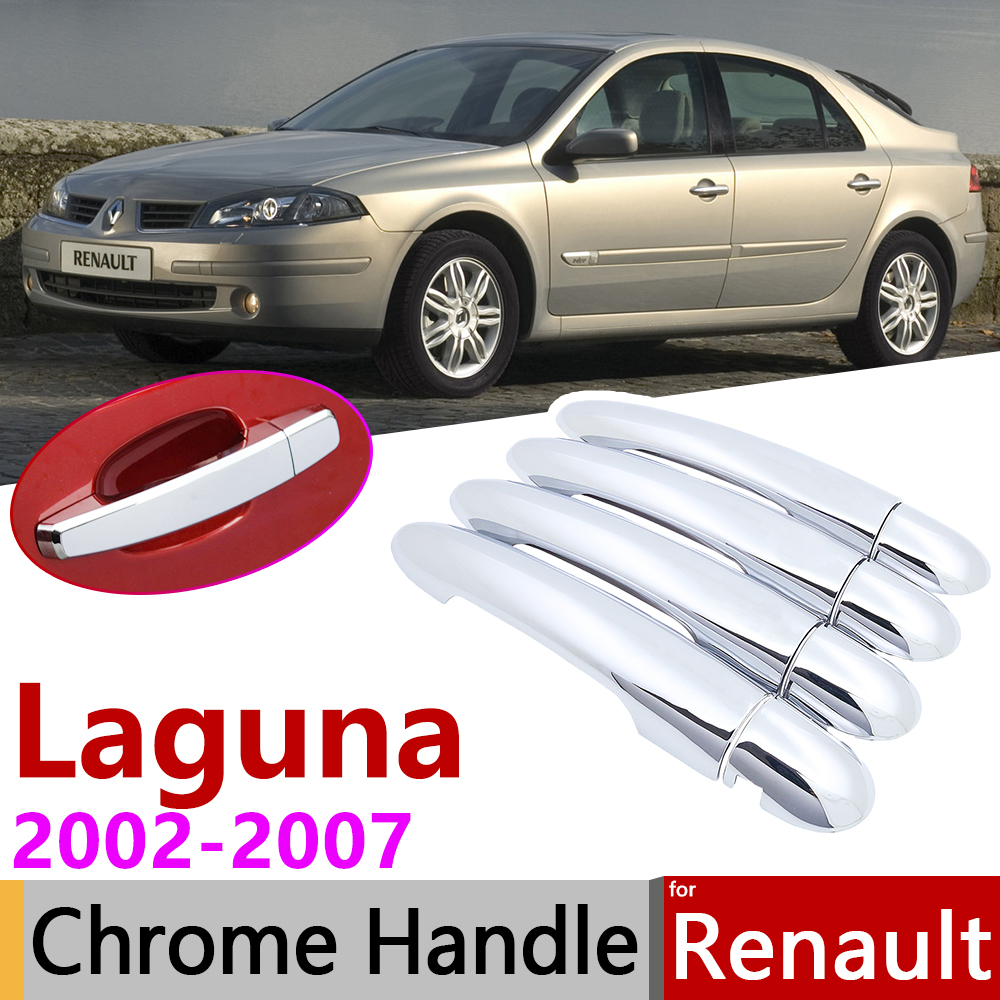 for Renault Laguna II X74 MK2 2002 2007 Chrome Exterior Door Handle Cover Car Accessories Stickers Trim Set 2003 2004 2005 2006