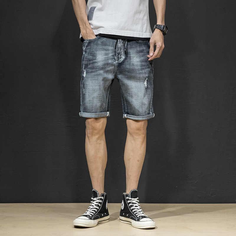 2019 męskie letnie spodenki jeansowe męskie dżinsy męskie szorty dżinsowe bermudy deskorolka męskie Jogge zgrywanie spodenki fala 38