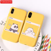 Cute Cartoon Animals Kawaii niedźwiedź Panda wzór żółte przypadki miękkie cukierki Case Coque dla iPhone 12 11 6 6S 8 8Plus X XS Max 7 7Plus tanie tanio TOMOCOMO CN (pochodzenie) Aneks Skrzynki Fashion Solid Color Simple Style Design Case Cover Apple iphone ów IPhone 3G 3GS