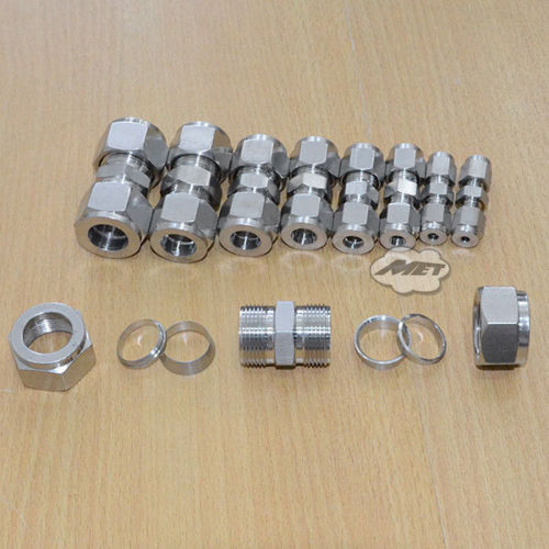 MEGAIRON 3/4 DN20 Straight Double Ferrule Tube Pipe Fitting Connector Stainless Steel 304