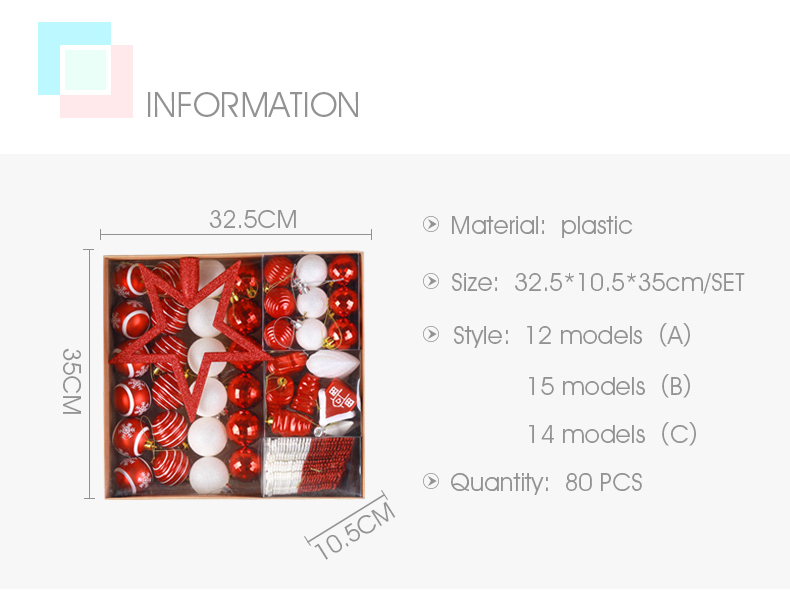 02 inhoo 80pcsset Christmas Tree Ball Ornaments Gift Polystyrene Balls Xmas Party Hanging Ball Merry Christmas Decor for Home 2019