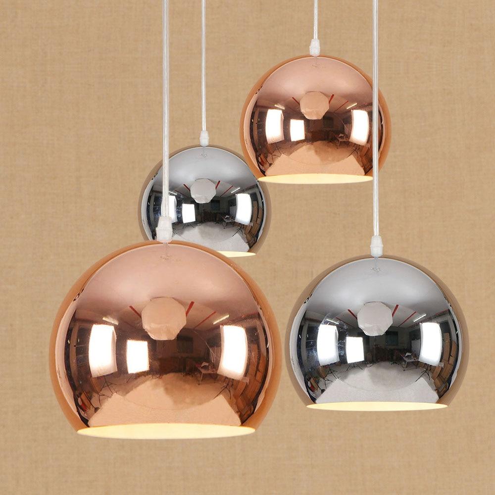 Fashion European Style Electroplated Ball Shape Pendent Light Rose Golden Chrome Simple Iron Chandelier Restaurant Cafe Decor