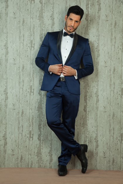 2017 Latest Coat Pant Designs Navy Blue Shawl Lapel font b Formal b font font b
