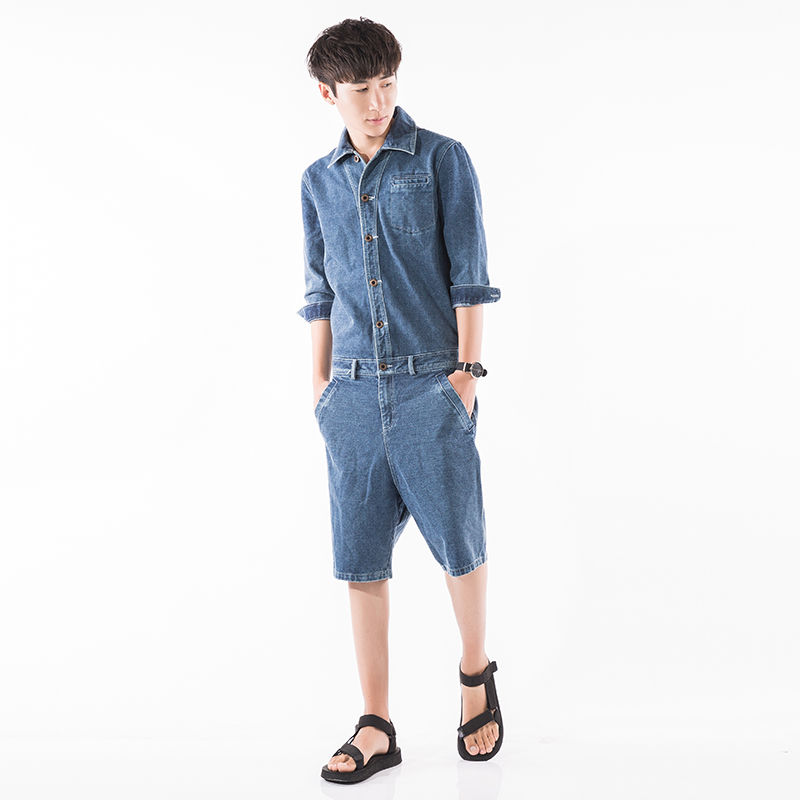 6eaa352d7c66 Men Casual Harem Shorts Denim Short Jumpsuit Fashion A Piece Short Sleeve  Shorts Overalls Male Hip Hop Trousers Jumpsuit-in Casual Shorts from Men s  ...