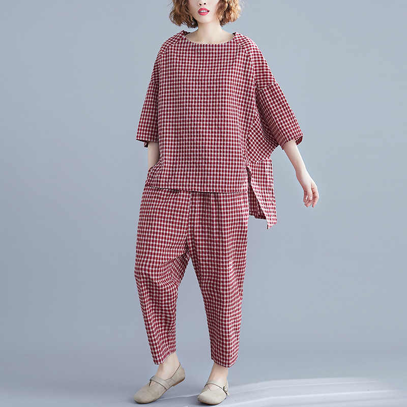 Johnature 2019 Summer 2 Piece Set Women Simple Comfortable Loose Cotton And Linen Plaid O-neck Tops Elastic Waist pant Women Set