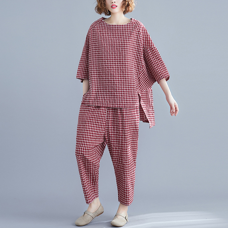Johnature 2019 Summer 2 Piece Set Women Simple Comfortable Loose Cotton And Linen Plaid O-neck Tops Elastic Waist Pant Women Set