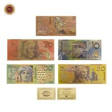 Золотой набор банкнот(5 шт.) AUD 5.10.20.50.100 доллар Выгравированный Золотой домашний декор значение коллекционная