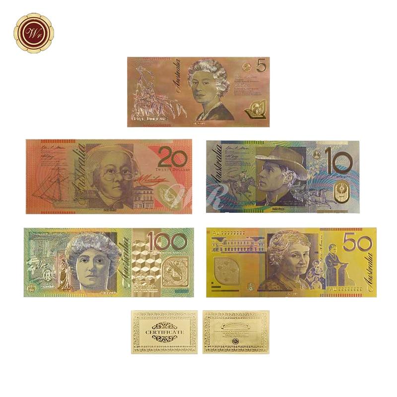 Billet de Banque en or Couleur Set (5 pcs) Nouveau AUD 5.10.20.50.100 Dollar En Or Gravé Décor À La Maison Valeur De Collection