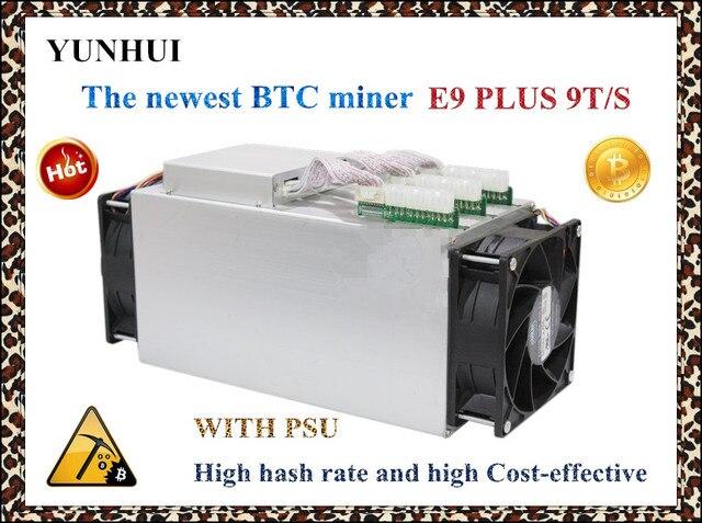 Venda Mais Recente 14nm YUNHUI BCH Mineiro Asic BTC Mineiro usado Ebit E9 Mais 9 T (com fonte de alimentação) preço baixo do que o mineiro antminer S9 boa economia