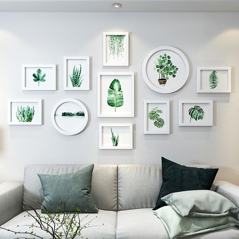 Fresh Plants Pictures Frames Round Rectangle White Frames For Wall Decor Family Wedding Photos Frame quadros de parede para sala