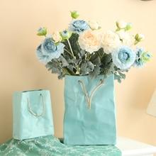 Europe Creative Handbag Ceramic Vase Dry Flower Ware Tabletop Crafts home wedding decoration ornaments