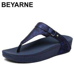 Image 2 - BEYARNE large sizes Heels peep Toe Summer womens Shoes Woman Sandals platform slippers Leisure resort beach flip flops E687