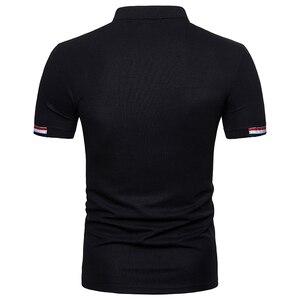 Image 2 - Polo à manches courtes pour homme, flambant neuf, slim, design en coton, avec fermeture éclair, respirant, grande taille, EU, 2018