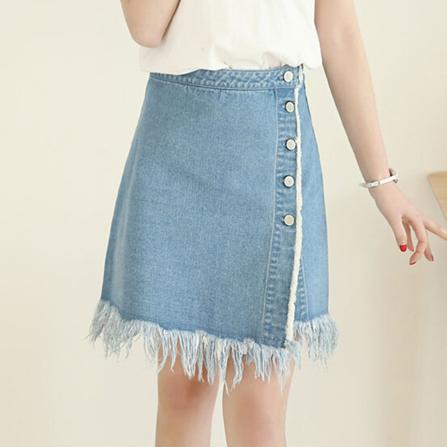 2016 nova franja saia jeans feminina verão foi uma palavra saias de cintura magro cor sólida personalizado de aprendizagem