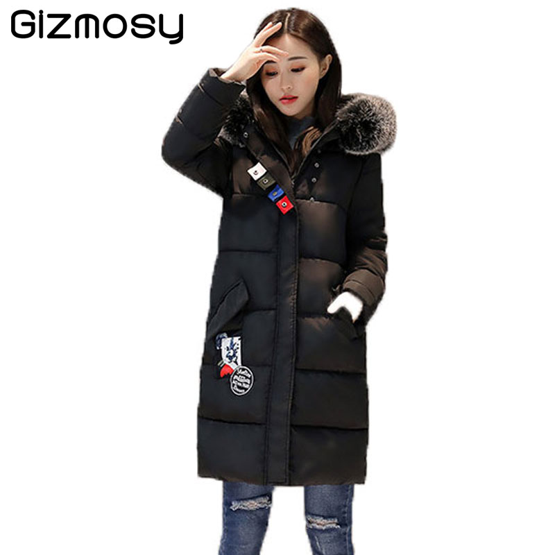 Winter Coat Women Warm Cotton Parka Fur Collar Hooded Jacket Female Thicken Long Cotton-Padded Coat Casual Outwear SY1042 bjcjwf 2017 winter jacket women wadded long parkas female outerwear hooded coat cotton padded fur collar parka thicken warm 1pc