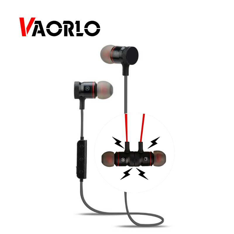 VAORLO Magnetic Earpiece Bluetooth Metal Sports Headphone Neckband Ecouteur Sport Earphone Stereo Wireless Headset for PHONE
