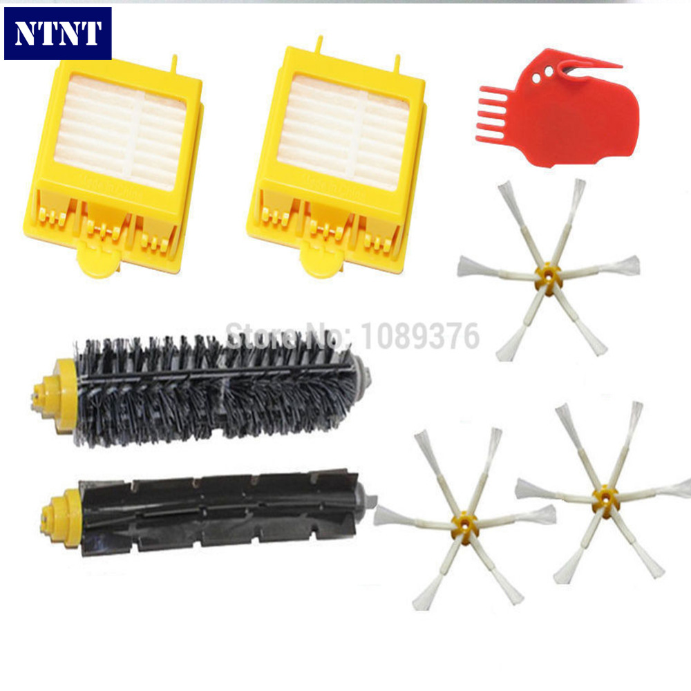 NTNT Free Post NEW HEPA Filter + 6 armed Side Brush for iRobot Roomba 700 Series 760 770 780  цена