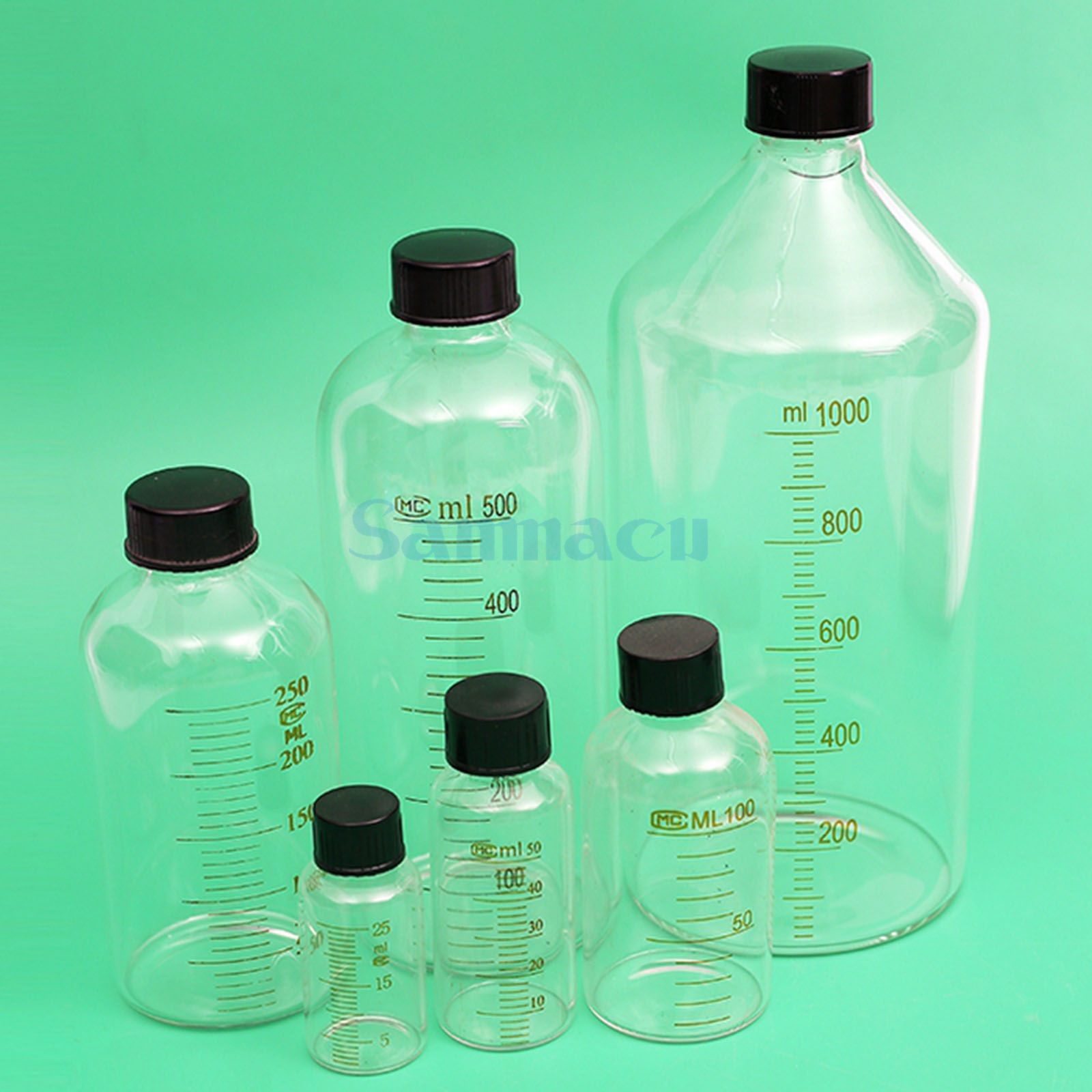 250ml Lab Glass Serum Bottle With Scale Line Screw Cap Reagent