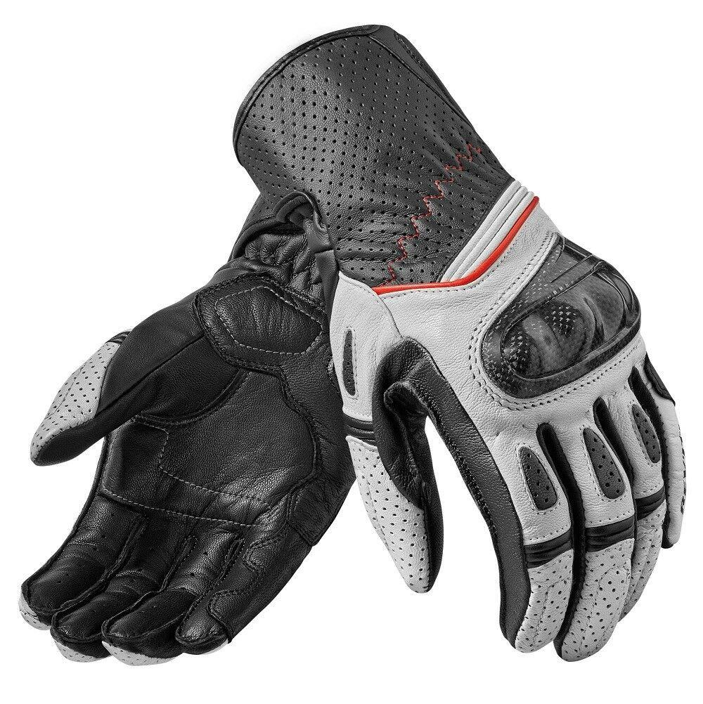 New 2019 Revit Motorbike Motorcycle Gloves Chev 2 White Black Racing Gloves Genuine Leather Motorbike Gloves