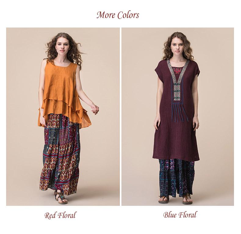 7a9535d7662 Jiqiuguer Women Vintage Floral Print Wide Leg Pants Plus Size Elastic Waist  Ankle-length Loose summer casual trousers G172K006USD 68.67 piece