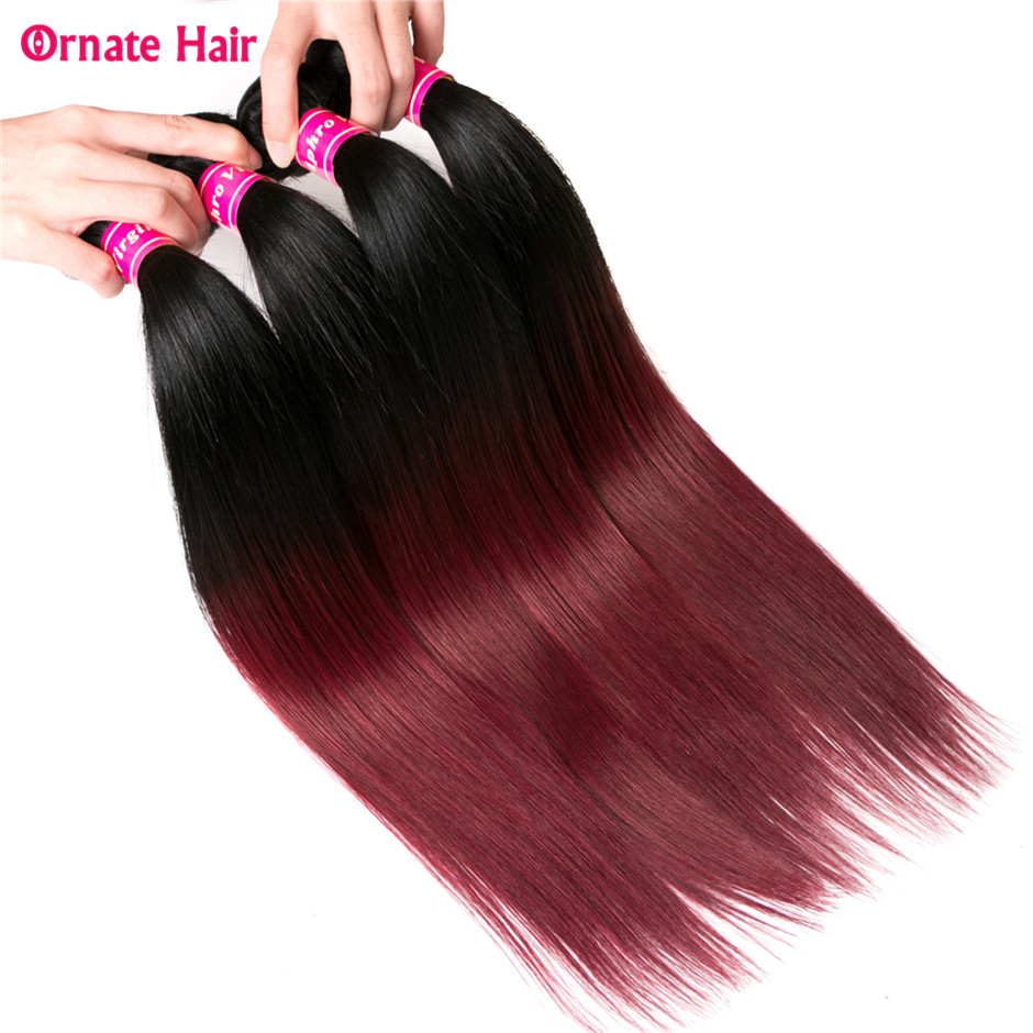 Learned Ornate Indian Straight Hair 4 Bundles Two Tone Human Hair Weave Bundles Non Remy Ombre Hair Bundles 12-224 Inch 1b-99j Moderate Price Hair Weaves