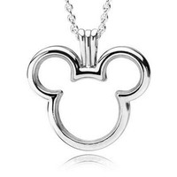 Small 925 Silver Micky Floating Locket Pendant Charm Fit Original Pandora Bracelet Bangles Necklace for Women DIY Jewelry Gift