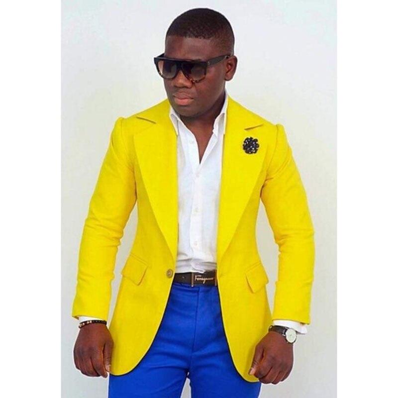 ชายชุด 2 ชิ้น Slim Fit ธุรกิจชุดลำลอง Terno Masculino สีเหลืองแจ็คเก็ต Royal Blue กางเกงงานแต่งงานเจ้าบ่าว tuxedo-ใน สูท จาก เสื้อผ้าผู้ชาย บน   1