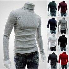 Dropshipping Men Sweater Turtleneck Pullover 2019 Fashion Solid Color Slim Knitwear 8 Color Elastic Men Clothing Black Red