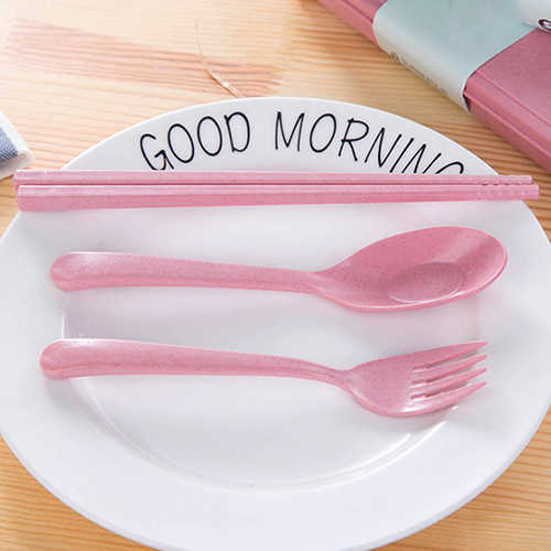 3PCs//Set tableware cutlery wheat straw spoon fork chopsticks tableware tool`SKP0