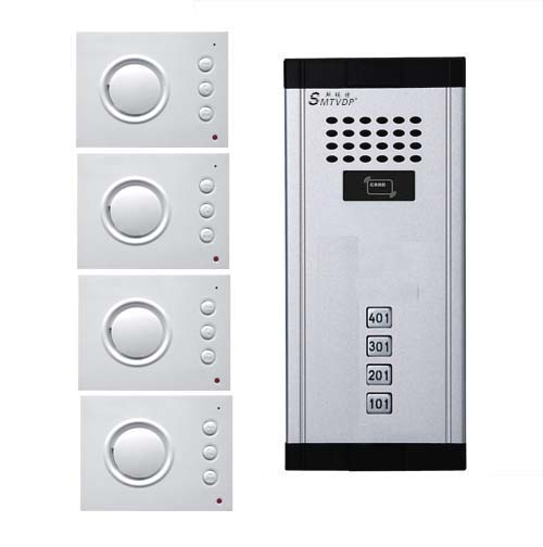 SMTVDP Intercom System Audio Door Phone for 4 apartments, 4-wired Audio Doorphone With Hand-free Indoor Units ,ID Card Unlock