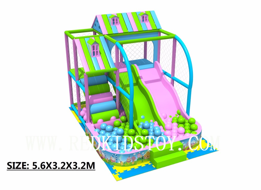 Exported To US Wooden Packing Play Center Indoor Playground With Ball Pools And Slide 5.6x3.2x3.2m