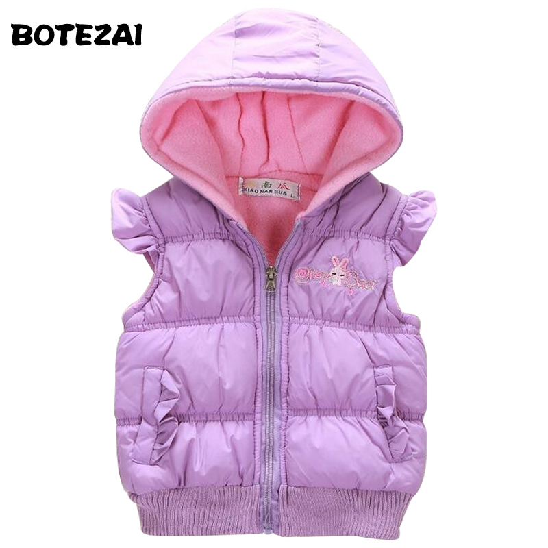 1-4 yrs 2017 New Baby girls spring autumn winter coat Kids warm Vest children Jacket fashion cartoon hooded new girls fashion vest autumn children clothing baby girls cotton printing animals tops vest kids clothes hooded coat jacket