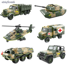 Abbyfrank 1:64 Pull Back Alloy Car Model Miniature Diecast Toy Military Armored Series Vehicle Multiple Style  Toys Car For Kids