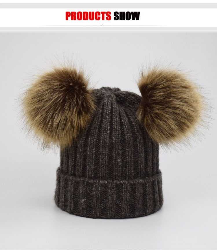 ff69332bf72 2018 Faux Fur Pompom Hat Women Winter Caps Knitted Wool Cotton Hats Two Pom  Poms Skullies Beanies Bonnet Girls Female Cap Gift