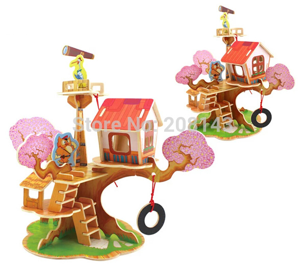 3D Wooden Puzzle Toy Observatory Model 37 Pieces Great Wooden Toys for Children
