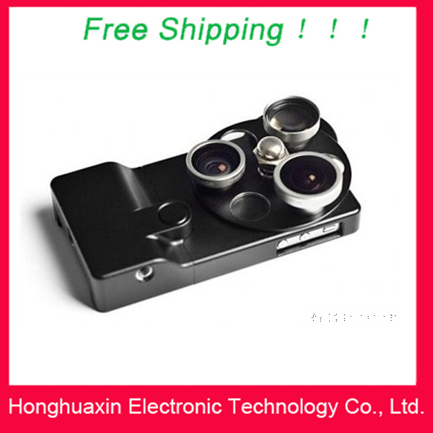 Free Shipping Good quality 3 in 1 Lens Dial Lens Wide Angle Fisheye Telephoto Lens for iphone 4/4S,Mobile Phone Lens