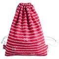 TEXU Women's folk-custom Leisure canvas backpack red(stripe Style 03)