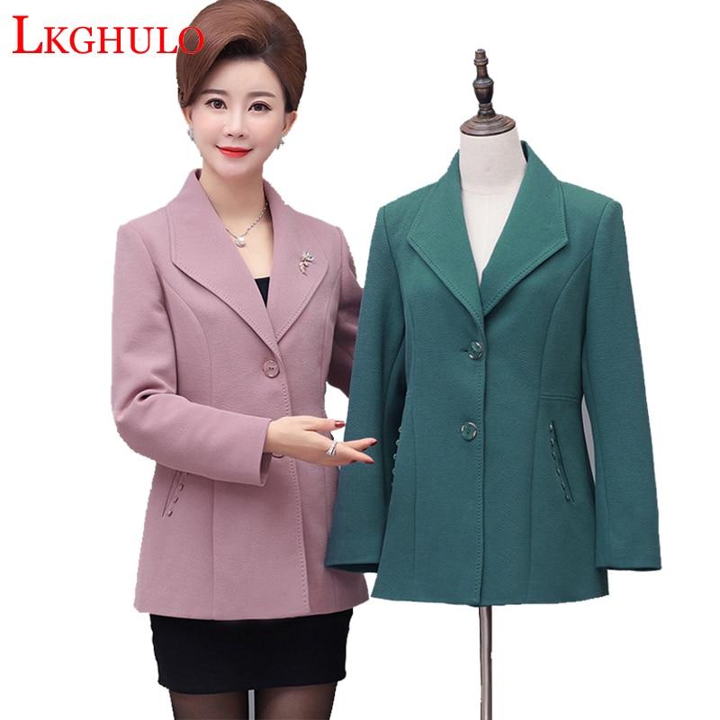 New Plus Size 5XL Middle-Aged Women Blazer Autumn Slim Top Elegant Single Breasted Clothes Blazer Suit Female Suit Blazer A317
