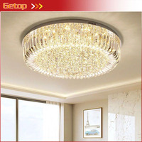 Modern Crystal Lights Living Room LED Chandelier Three Color Dimming Remote Control Lamps European Luxury Round