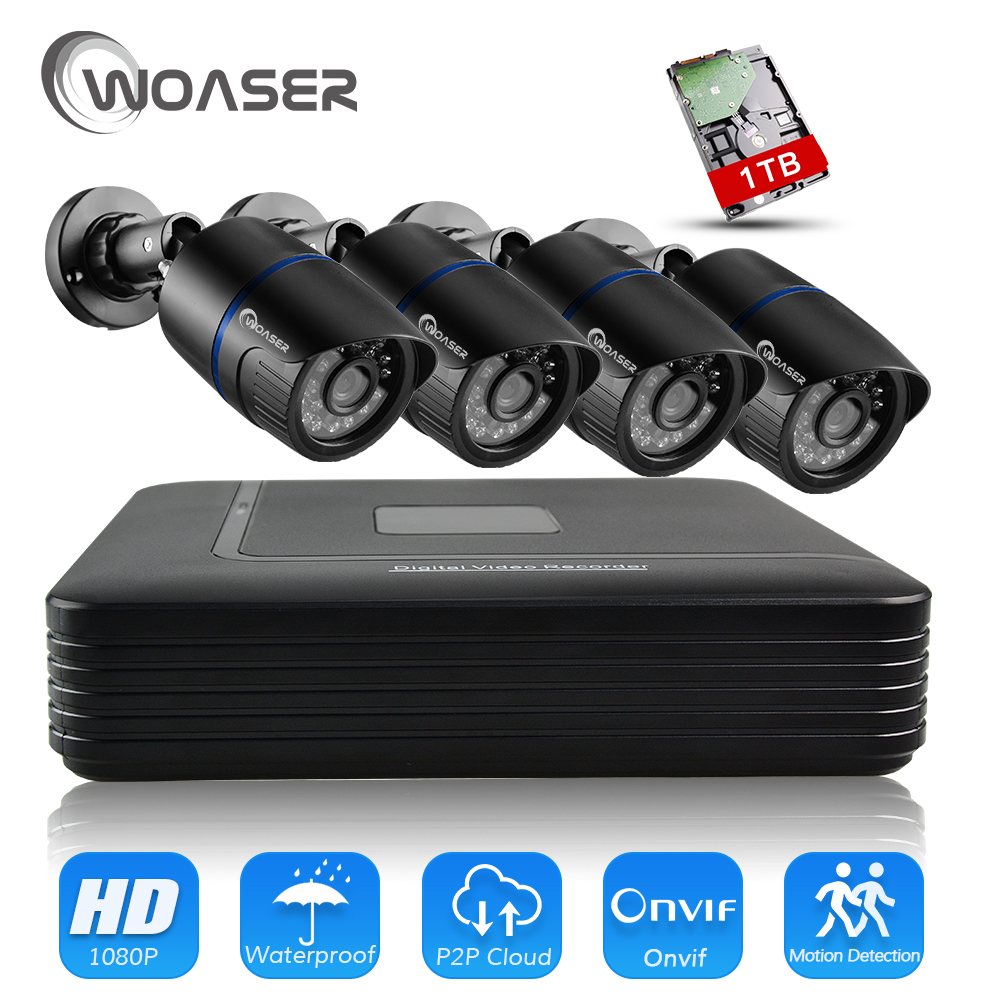 WOASER 48V 1080P HDMI P2P 4CH POE NVR Surveillance System Video Output 2.0MP IP Camera Home Security CCTV Kits With 1TB HDD