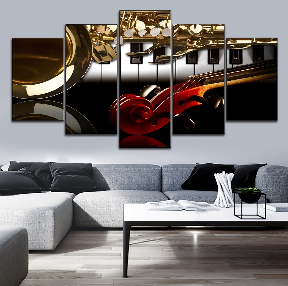 Us 104 48 Offcanvas Print Musical Instruments Picture 5 Panel Modular Style Music Classroom Wall Decor Piano And Violin Handle Saxophone Draw In