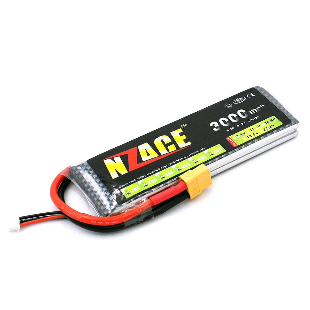 NZACE 2S lipo battery 7.4v 3000mAh 30C rc helicopter rc car rc boat quadcopter remote control toys Li-Polymer battey xxl a grade 4s lipo battery 14 8v 5200mah 30c helicopter rc car quadcopter remote control toys li polymer battey rc parts