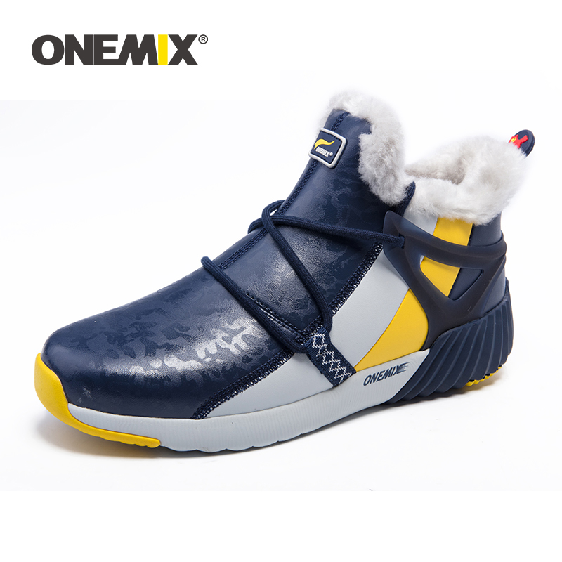ONEMIX Winter Man Boots Warm Wool Sneakers Sport Shoes Outdoor Comfortable Running Shoes for Men Waterproof Winter Walking Shoes in Running Shoes from Sports Entertainment