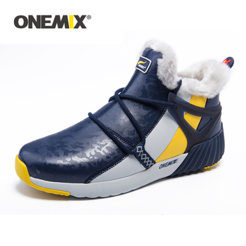 ONEMIX Winter Man Boots Warm Wool Sneakers Sport Shoes Outdoor Comfortable Running Shoes for Men Waterproof Winter Walking Shoes